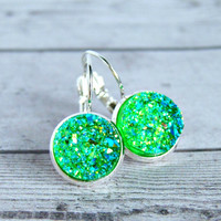 green jellies silver tone lever back cabochon earrings, neon, druzy, drusy, faux druzy,