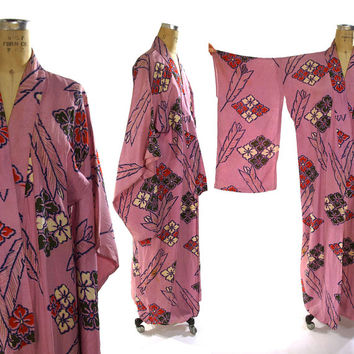 Silk Ikat Kimono / Floral Feather & Geometric Pattern Duster in Lightweight Pink Silk
