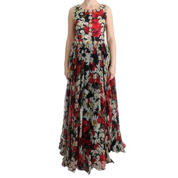 Dolce & Gabbana Multicolor Silk Floral Crystal Long Maxi Dress