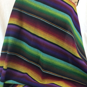 Guatemalan Fabric--Handwoven--100% Cotton--Jewel Tone Rainbow Wide Stripes--Handmade in Guatemala--Guatemalan Fabric by the HALF YARD