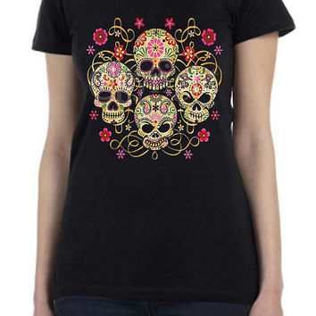 Gothic Day of the Dead Sugar Skull Design Printed T Shirt for Men or Women in all sizes in Black or White...Free Shipping!!