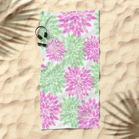 pink and green flowers Beach Towel by Sylvia Cook Photography