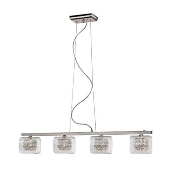 Trans Globe Lighting MDN-1112 Glassed Cube Island Pendant - 4 Light with Clear Glass, Clear Crystal Insets