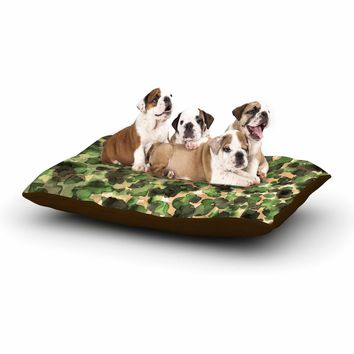 """Ebi Emporium """"WILD THING, CAMO GREEN"""" Green Olive Animal Print Abstract Watercolor Mixed Media Dog Bed"""