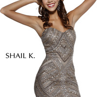 Shail K 3470 - Lead Strapless Beaded Fitted Short Prom Dresses Online