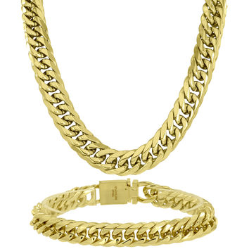 Mens Miami Cuban Chains 14k Yellow Gold Finish Stainless Steel 31 Inch 11 MM