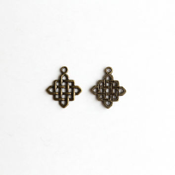 Charm - Chinese Knotting, Antique Brass