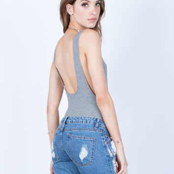 Stretchy Scoop Back Bodysuit