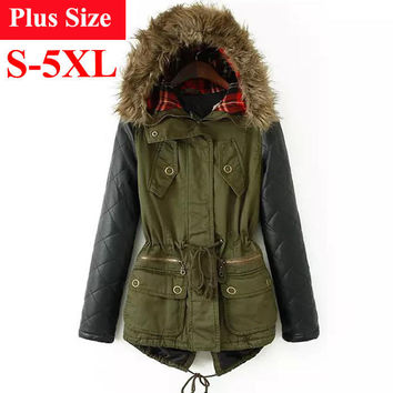 Winter Jacket Women Down Parka Plus Size Cotton Padded Coat Fur Hooded Outwear PU Leather Sleeve Winter Coat Women