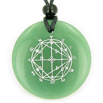 Astrological Seal Zodiac Star of David Amulet Green Aventurine Magic Good Luck Pendant Necklace