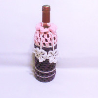 Crochet wine cozy Purple wine bottle sleeve Liquor bag Bottle cover Wine gift bag Sacks Cozies Drink bottle cozy Bottle crochet gift bag