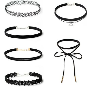 Streetstyle  Casual Six Pieces Lace Choker Necklaces Set