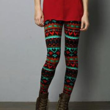 Red and Green Leggings - $37.00