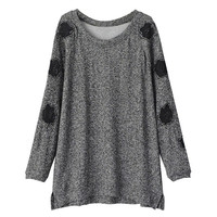 Grey Pullover Knit Long Sleeve Sweater