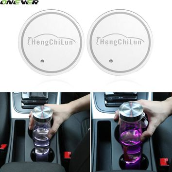 2Pcs Rechargeable Car Cup Anti Slip Mat Waterproof Solar LED Cup Holder Mats Pad Bottle Drinks Coaster Automatically Lighting