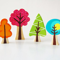 Enchanted Forest Woodland Tree Set Of 4 - Woodland Nursery Theme - Wooden Trees - Unique Gift