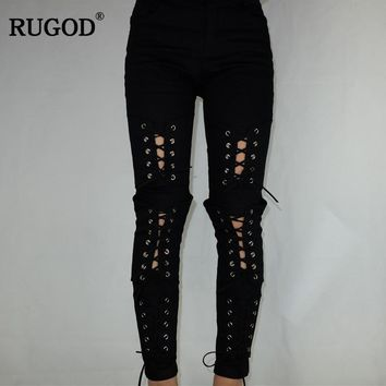 Lace-up Ripped Jeans For Women High Waist Solid