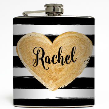 Gold Heart Monogram - Personalized Flask