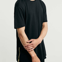 BLACK ZIPS SKATER T-SHIRT - Longer Length - Clothing - TOPMAN