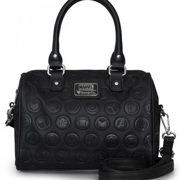 """Avengers"" Black Embossed Duffle Bag by Loungefly x Marvel (Black)"