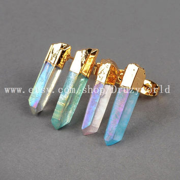 Special Gold Plated Angel Aura Quartz Natural Crystal Point Stud Earrings Golden Edge Angel Quartz Earring Titanium Quartz Jewelry G0363