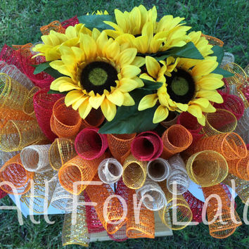 Fall Autumn Sunflower Mailbox Topper or Headstone Gravestone Saddle Flowers with Deco Mesh or Custom Order