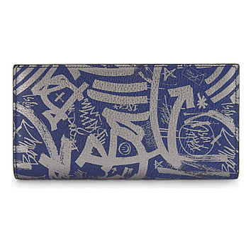 BALLY Grained leather graffiti wallet