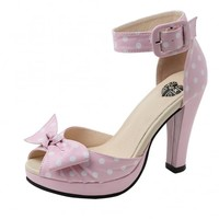 T.U.K. Shoes Pink Polka Dot Starlet Heel