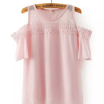 Pink Lace Trim Bare-Shouldered Chiffon Top