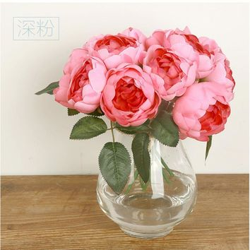European Silk Flower 1 Bouquet Artificial Flowers Fall Vivid Rose Fake Leaf Wedding Home Party Decoration Bridal Bouquets C
