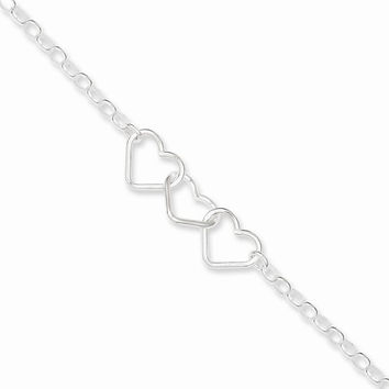 Silver Rolo Chain With 3 Interlocking Heart Anklet