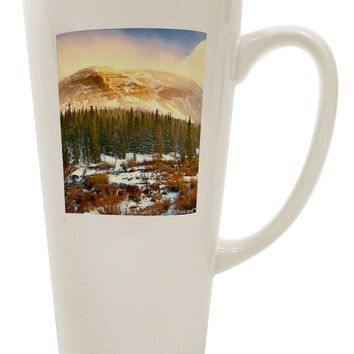 Nature Photography - Mountain Glow 16 Ounce Conical Latte Coffee Mug by TooLoud