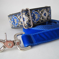 "1.5"" Martingale Collar and Leash, Blue Martingale Collar, Jacquard Martingale Collar, Blue Martingale, Blue Dog Collar, Jacquard Dog Collar"