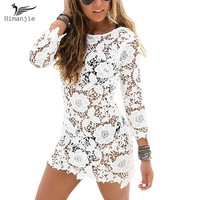 Sexy Lace Crochet Beach Cover Up Floral Embroidery Bathing Suit Hollow Out Swimwear Women Swimsuit Pareo Beachwear Cover Ups