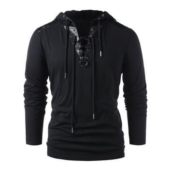 MISSKY Autumn Halloween Men Sweatshirt Solid Black Color Drawstring Hoodie Lace Up Faux Leather Hooded Pullover Sweatshirt