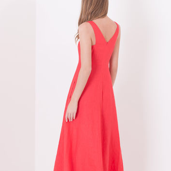 Long linen dress, red - INSIEME MAX&Co.