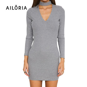 AILORIA Apparel Autumn sexy halter knitted dress Women winter elegant bodycon dress Casual black vestidos short sweater dresses