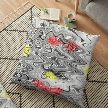'Absolute Abstract Grey Jiggle With Colour Splash' Floor Pillow by MarkUK97