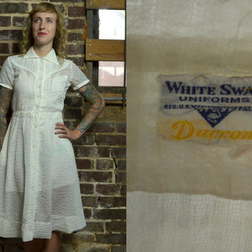 Vintage 1950's White Swan Sheer Nurses Uniform Dress