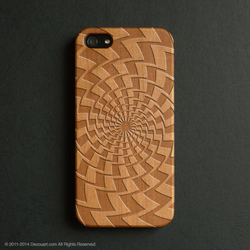 Real wood engraved geometric pattern iPhone case S009
