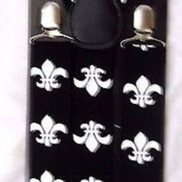 "Adult 1 1/2"" Fleur de lis Design New Orleans Saints Y-Style Back Suspenders-New!"