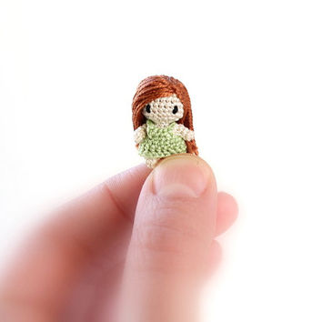 Micro Mini Amigurumi Girl: Terrarium Decor, Miniature Crochet