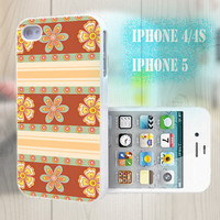 unique iphone case, i phone 4 4s 5 case,cool cute iphone4 iphone4s 5 case,stylish plastic rubber cases cover, brown floral  stripe p1002