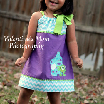 Beautiful and Exclusive Design Monster's Inc Sully and Mike in pillowcase dress