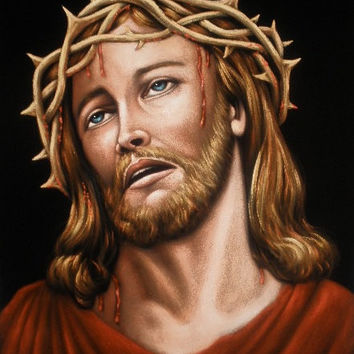 Jesus Christ crown of thorns black velvet original oil painting handpainted signed art 18 by 24 inches