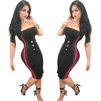 Black Tube Dress with Contrast Bands and Buttons