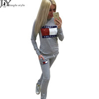 2016 Fashion Women Sportswear Autumn Winter Printed Letter Tracksuits Long-sleeve Casual Sport Suit Costumes Mujer 2 Piece Set Z