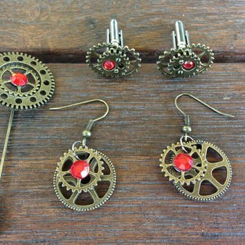 Custom Steampunk Rhinestone Ruby Earrings and Cufflinks Set