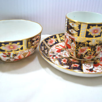 Royal Crown Derby Imari Half Cup Saucer and Round Tea Cup Blue Cobalt and Gold Porcelain