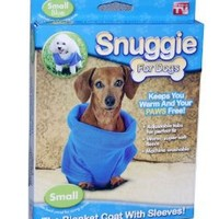 Amazon.com: Snuggie for Dogs Blue Colored Fleece Blanket Coat with Sleeves - Small: Pet Supplies